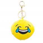Yellow Emoji Crying lol Face Fabric Pillow Bag Charm KeyChain