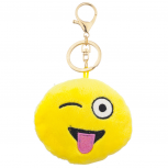 Yellow Emoji Tongue Out Face Fabric Pillow Bag Charm Key Chain
