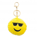 Yellow Emoji Sunglasses Face Fabric Pillow Bag Charm Key Chain
