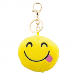 Yellow Emoji Side Tongue Face Fabric Pillow Bag Charm Key Chain