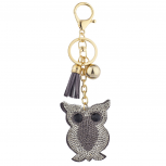Grey Gold Tone Sticker Stone Studded Owl Keychain Bag Charm