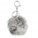 Grey Furry Pom Pom Keychain Bag Charm