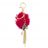 Gold Tone Fushia Pom Pom Chain Tassel Key Chain Bag Charm