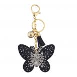 Black Gold Sticker Stone Studded Butterfly Keychain Bag Charm