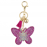 Pink Gold Sticker Stone Studded Butterfly Keychain Bag Charm