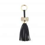 Black and Gold Tone Pu Leather Tassel Pave KeyChain Bag Charm