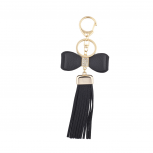 Black Bow and Gold Tone Short Leather Tassel KeyChain Bag Charm