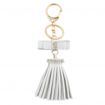White Mini Bow and Gold Tone Leather Tassel Key Chain Bag Charm
