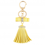 Yellow Mini Bow and Gold Tone Leather Tassel Key Chain Bag Charm