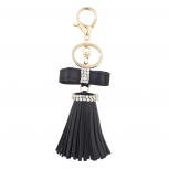 Black Mini Bow and Gold Tone Leather Tassel Key Chain Bag Charm
