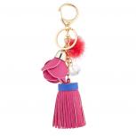 Pink Pu Leather Tassel Bag Charm Keychain