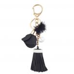 Black Pu Leather Tassel Bag Charm Keychain