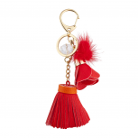 Goldtone and Red Tassel Flower Pom Novelty Keychain Bag Charm