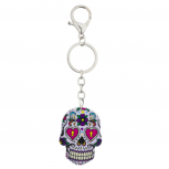 White Sugar Skull Rose Keychain Key Ring