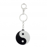 Black and White Ying Yang Pendant Keychain Key Ring
