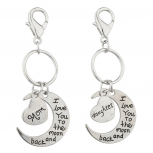 Silvertone Mom n Daughter I love you to the Moon n Back Keychain