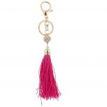 Goldtone Pink Fabric Tassel Pave Fireball Bag Charm Keychain