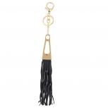 Gold Tone n Black Fabric Tassel Triangular Bag Charm Key Chain