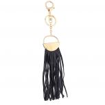 Gold Tone and Black Fabric Tassel Circle Bag Charm Key Chain