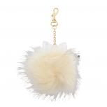 Ivory Gold Tone Glitter Bow Faux Fur Pom Pom Keychain Bag Charm
