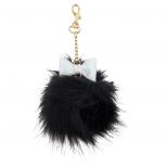 Black Gold Tone Glitter Bow Faux Fur Pom Pom Keychain Bag Charm