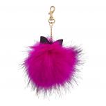 Fuschia Gold Tone Glitter Bow Faux Fur Pom Keychain Bag Charm