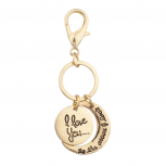 Gold Tone I Love You to the Moon and Back Keychain Bag Charm