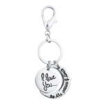 Silver Tone I Love You to the Moon and Back Keychain Bag Charm