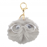 Grey Faux Fur Googly Eyeglasses Pom Pom Keychain Bag Charm