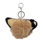 Tan Black Glitter Cat Ear Faux Fur Pom Pom Keychain Bag Charm