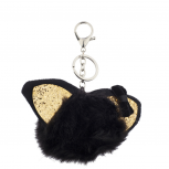Black and Glitter Cat Ear Faux Fur Pom Pom Keychain Bag Charm