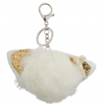 White and Glitter Cat Ear Faux Fur Pom Pom Keychain Bag Charm