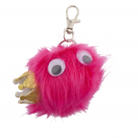 Pink and Glitter Crown Googly Eyes Faux Fur Keychain Bag Charm