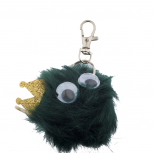Green and Glitter Crown Googly Eyes Faux Fur Keychain Bag Charm