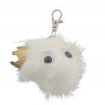 White and Glitter Crown Googly Eyes Faux Fur Keychain Bag Charm