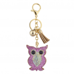Pink Tan Gold Tone Sticker Stone Studded Owl Keychain Bag Charm