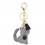 Black Gold Tone Sticker Stone Studded Kitten Keychain Bag Charm