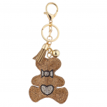 Tan Gold Sticker Stone Studded Teddy Bear Keychain Bag Charm