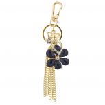 Gold Tone Black Flower Chain Tassel Cluster Keychain Bag Charm