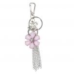 Silver Tone Pink Flower Chain Tassel Cluster Keychain Bag Charm