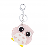 Silver Tone Pink White Heart Lucite Owl Animal Fashion Keychain