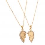 Best Friends BFF Necklace w/ Rhinestone Studded Hearts (2 PC)