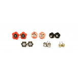 Red Black Flower Floral-Ball-Stud Earrings Set (9 Piece)
