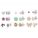 Earrings for Everyday pack of 9 Hearts Flowers Bird and Bow Studs