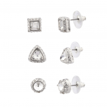 Pave Crystal Circle Triangle Square Stud Earrings Set Bridal