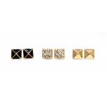 Stone Black Pyramid Stud Earrings (3 Pairs)