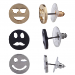 Tri Tone Mixed Metal Emoji Face Stud Multi Earring Set 3Pc