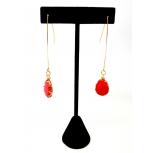 Dangle Teardrop Red Stone Earrings