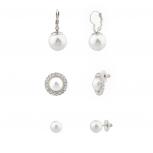 Faux Pearl Pave Crystal Bridal Multiple Earrings Set.