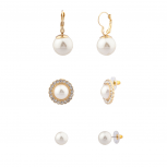 Faux Pearl Pave Crystal Bridal Multiple Earrings Set